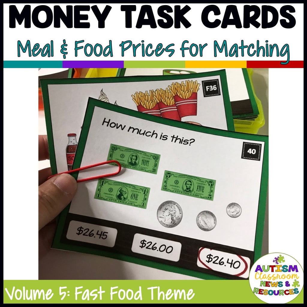 Fast Food-Themed Money Task Cards Volume 5 with Coin and Bill Combinations - Autism Classroom Resources