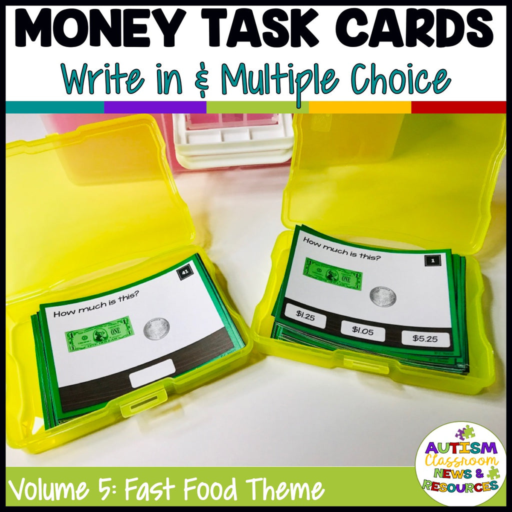 Fast Food-Themed Money Task Cards Volume 5 with Coin and Bill Combinations