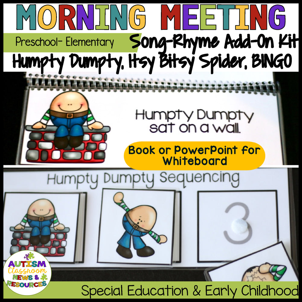 Morning Circle Rhymes & Songs Add-On Kit for Preschool and Elementary Distance Learning - Autism Classroom Resources