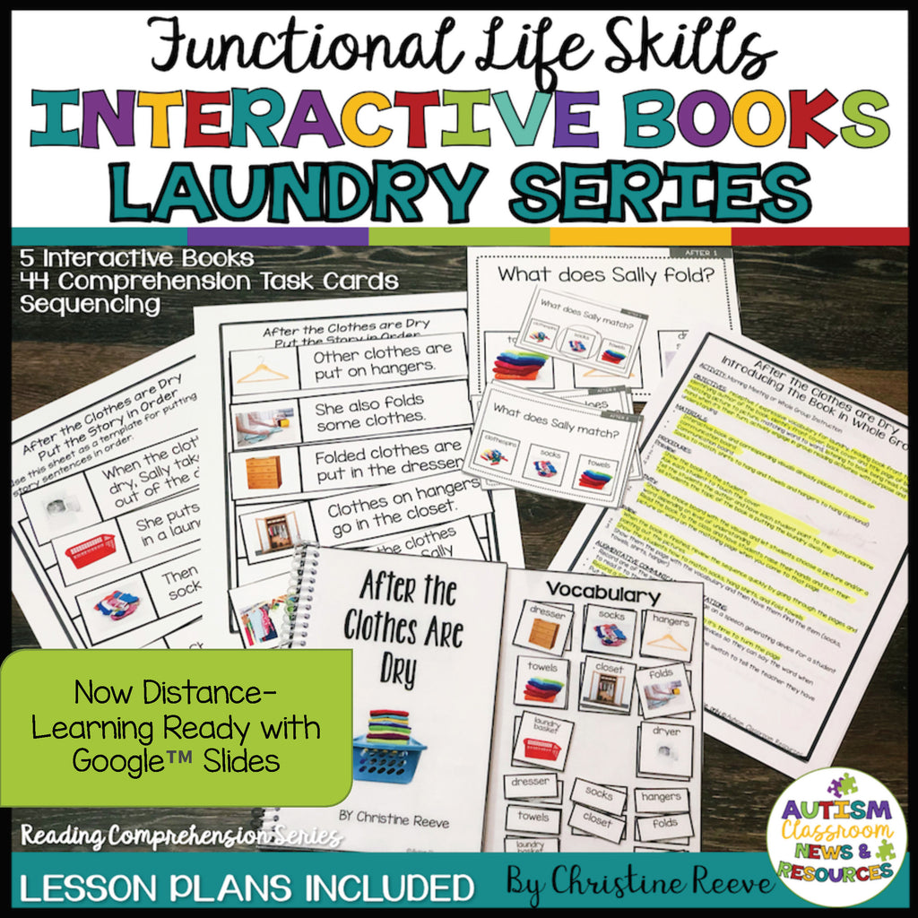 Life Skills Laundry Interactive Books With Lesson Plans and Comprehension Tools and Distance Learning - Autism Classroom Resources