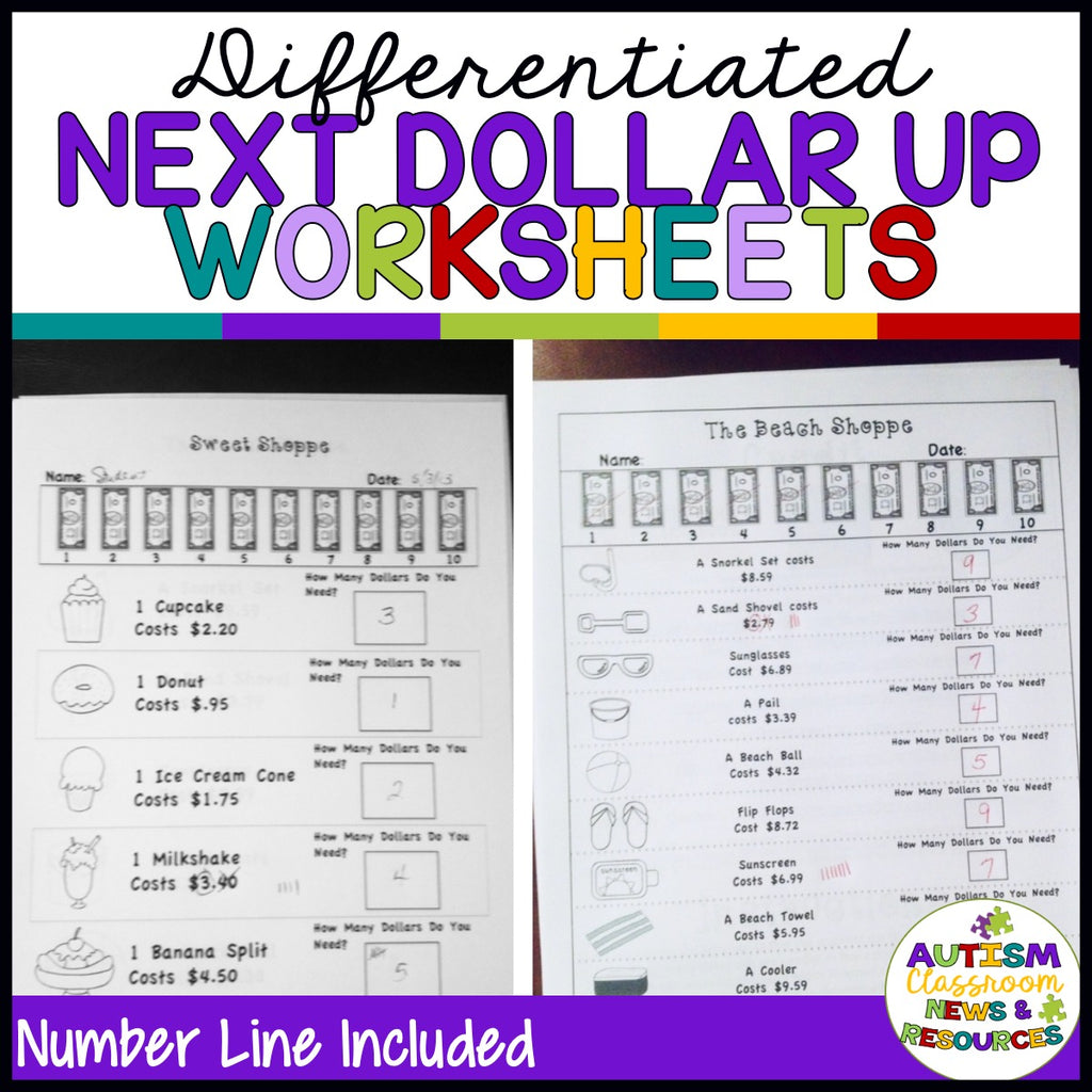 Next Dollar Up Worksheets: Money Skills for Special Education - Autism Classroom Resources