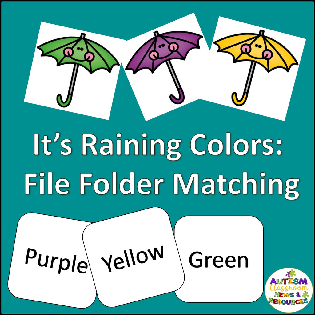 Color Matching Folder Game : It's Raining Colors - Autism Classroom Resources