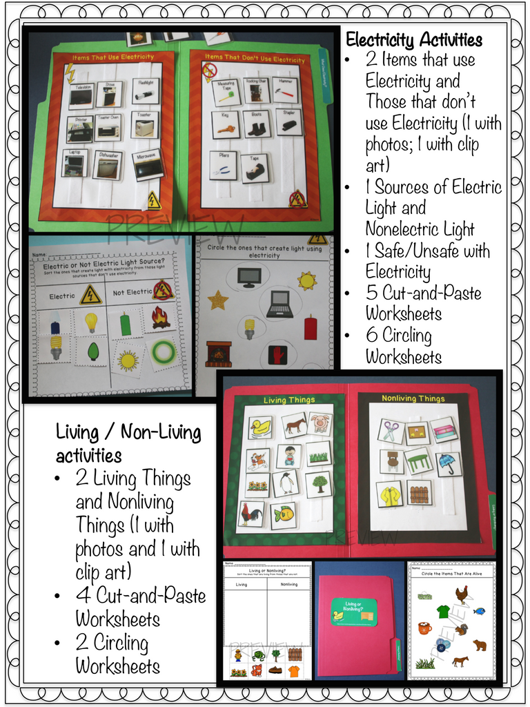 Science Sorting File Folders and Worksheets for Autism and Special Education
