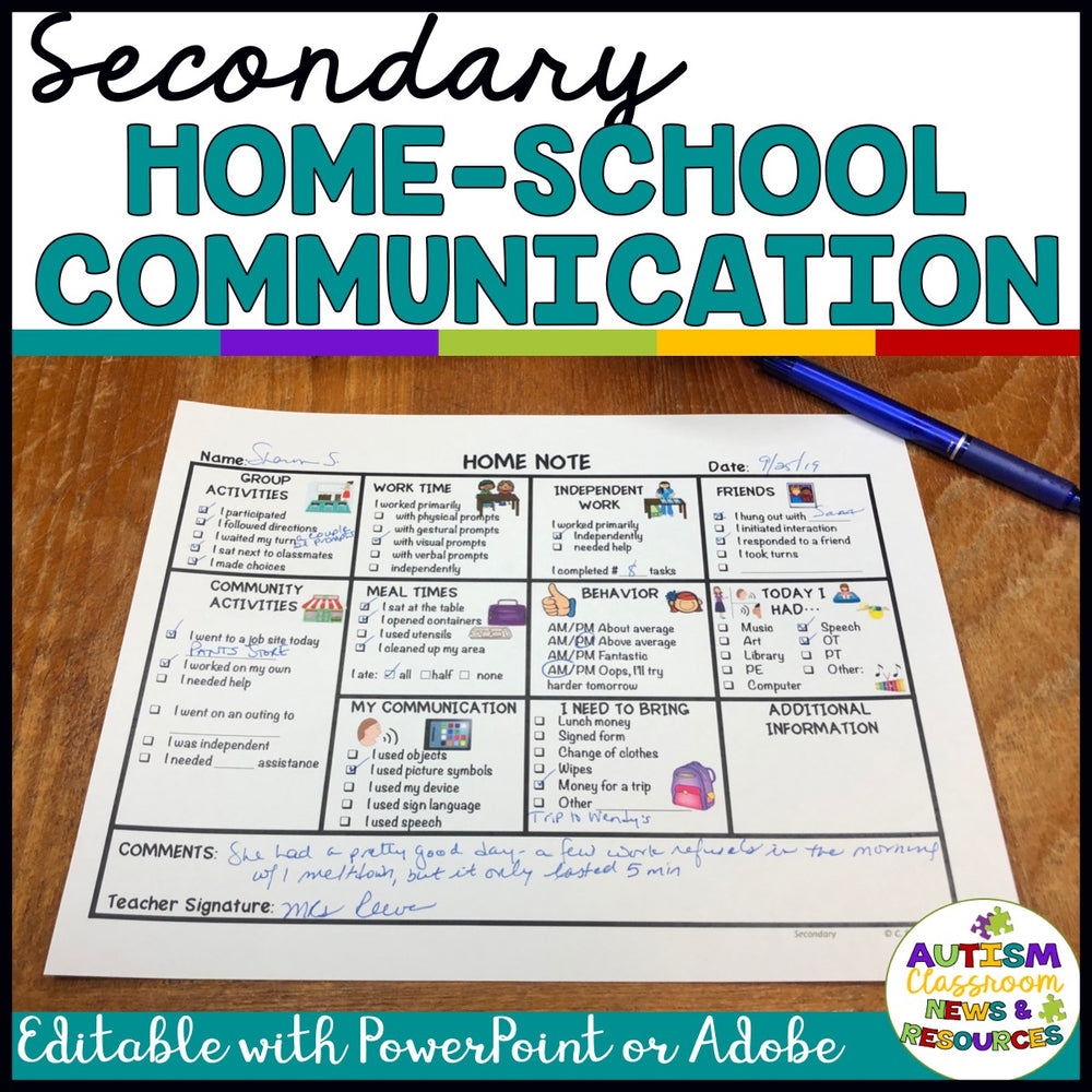 Secondary Special Education Home-School Communication Notes: Editable Included - Autism Classroom Resources