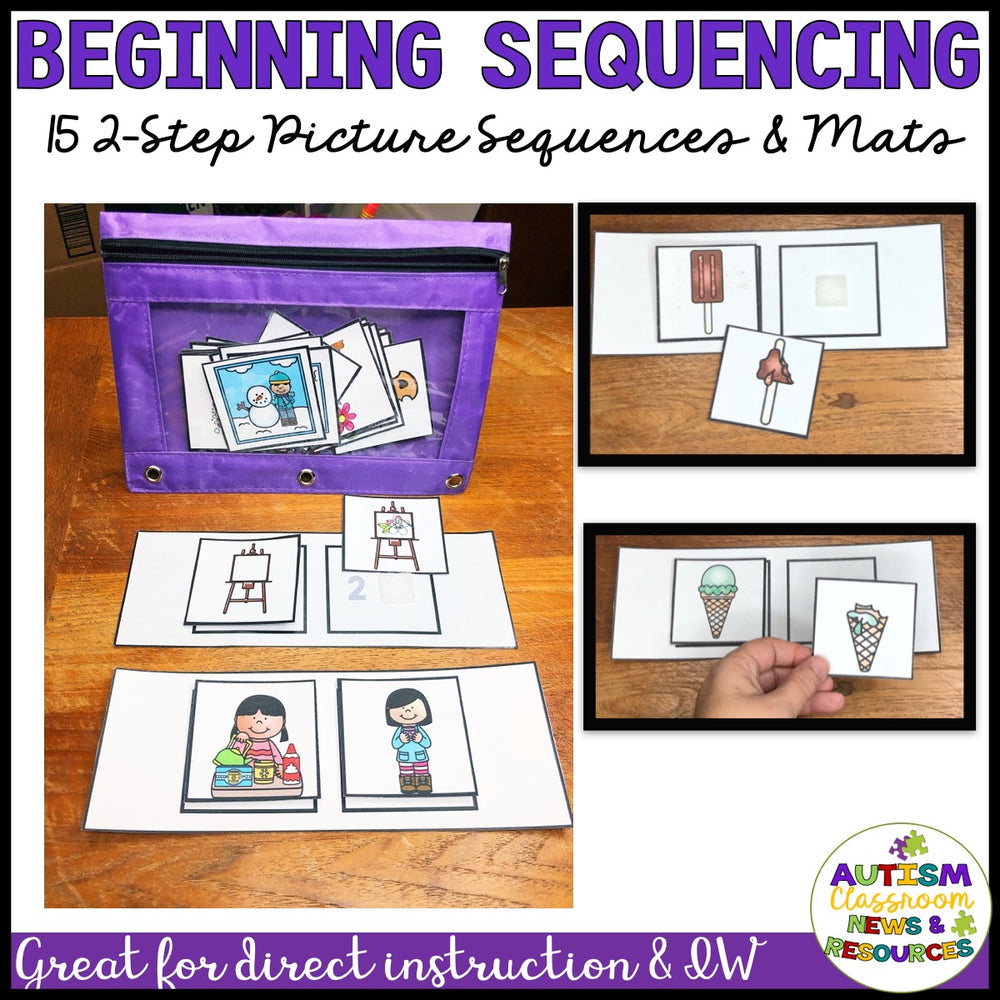 Basic Picture Sequencing: 2-Picture to 4-Picture Sequences With Data & Tutorial - Autism Classroom Resources