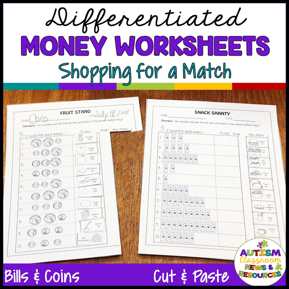 Differentiated Money Skill Worksheets: Shopping for a Match
