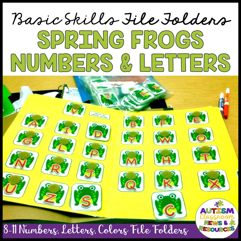 Basic Matching File Folders: Jump into Spring with Letters, Numbers and Colors - Autism Classroom Resources