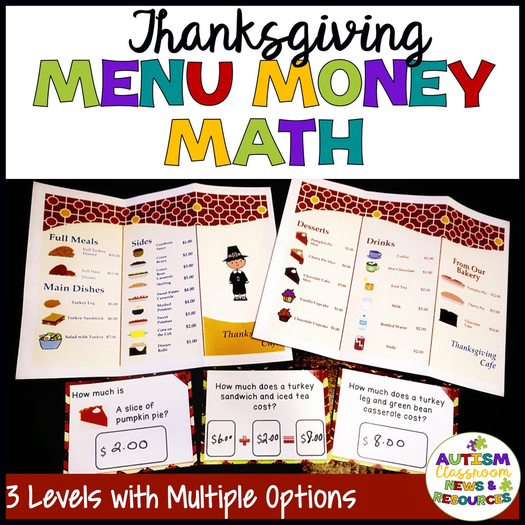 Differentiated Thanksgiving Menu Math for Practicing Money Skills - Autism Classroom Resources