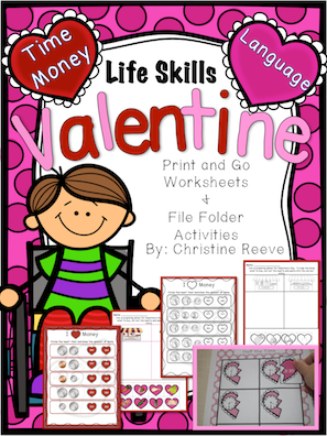 Life Skills Valentine Print & Go and File Folder Activities (Autism; special ed) - Autism Classroom Resources