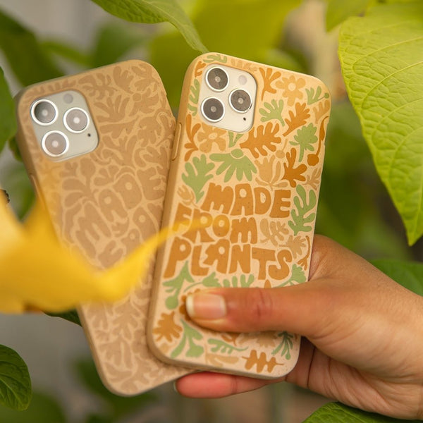 compostable phone case with made from plants quote