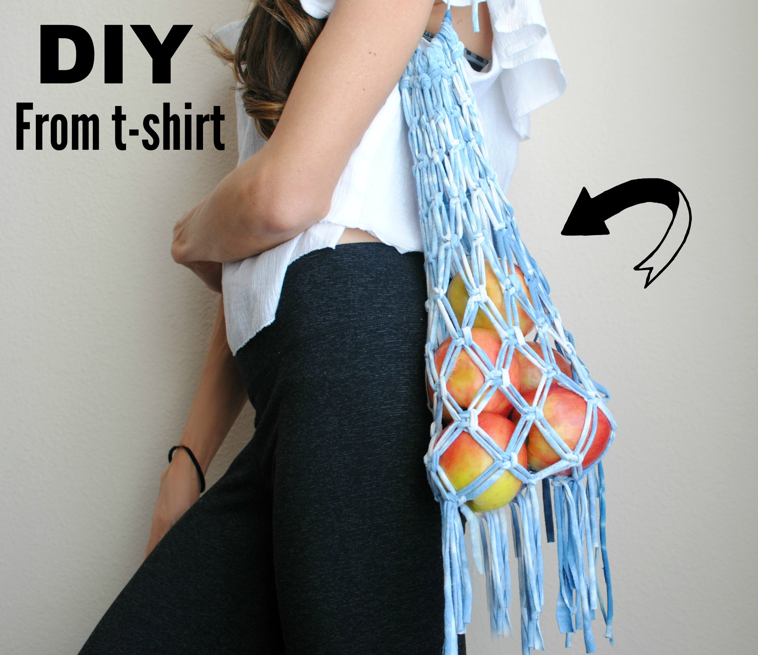 DIY: T-shirt Upcycle into Macrame Tote Bag - Plastic Free Shopping