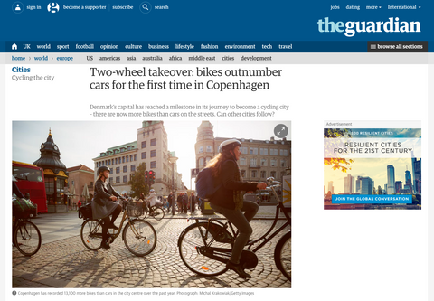 Bikes outnumber cars for the first time in Copenhagen - The Guardian