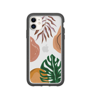 Clear Abstract Botanics Eco-Friendly iPhone 11 Case With Black Ridge