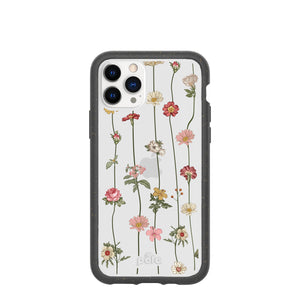 Clear Floral Vines Eco-Friendly iPhone 11 Pro Case With Black Ridge