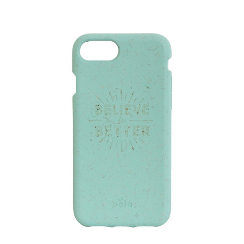 """Believe in Better"" Ocean Turquoise Eco Friendly iPhone Plus Case"