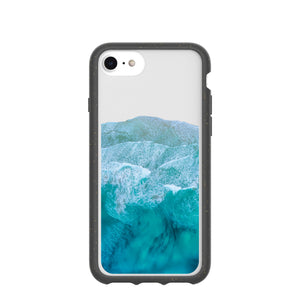Clear Waves iPhone 6/6s/7/8/SE Case With Black Ridge