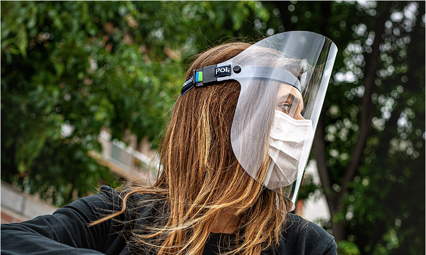 lady wearing Polaroid Stay Safe 2 Face shield covid 19 protection