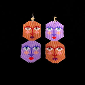 Gemini, Lilac & Copper, Beaded Earrings