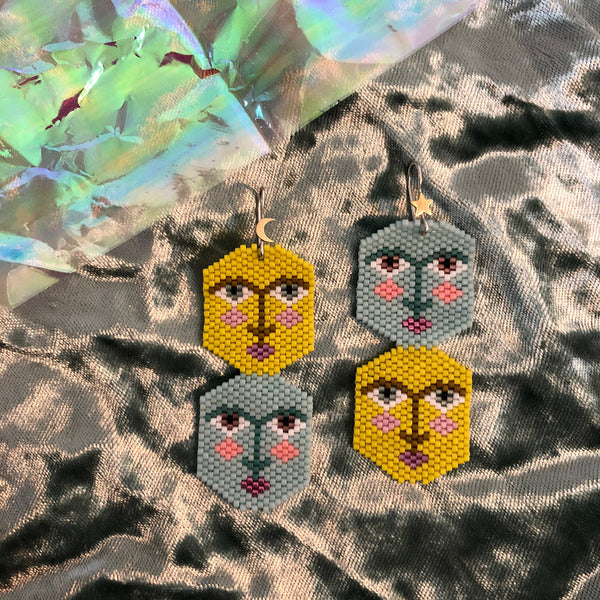 Gemini, Sage & Chartreuse, Beaded Earrings