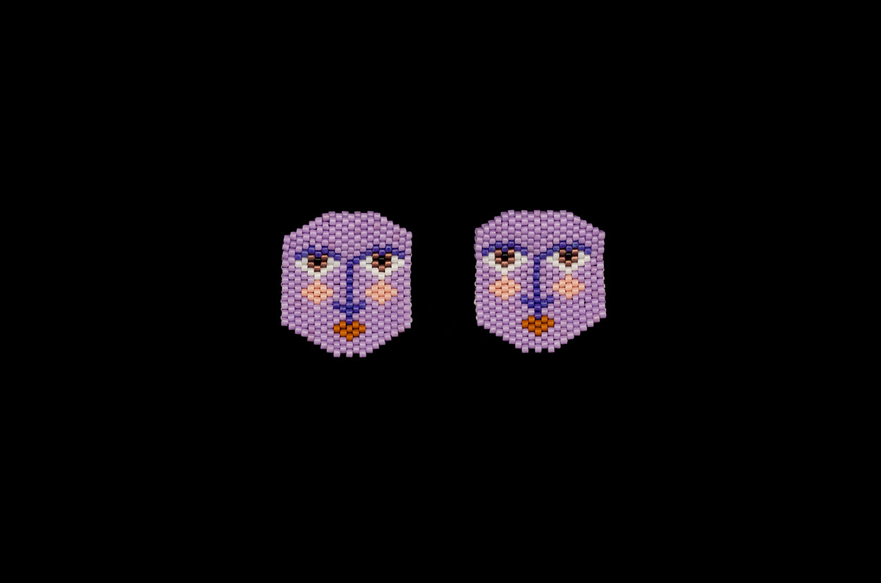 Inscrutable Faces, Lilac, Beaded Earrings