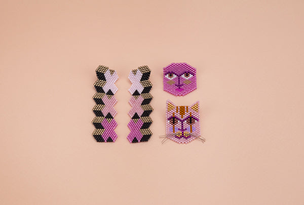Puss, Pinky, Beaded Cat Pin