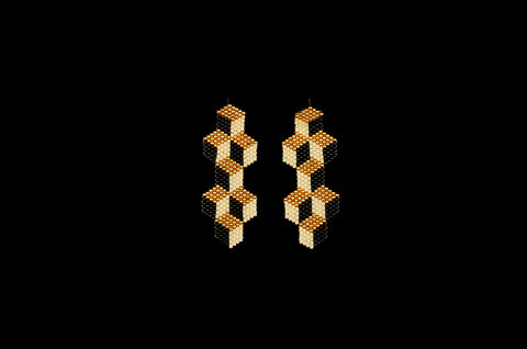 Tumbling Blocks, Medium, Gold, Beaded Earrings