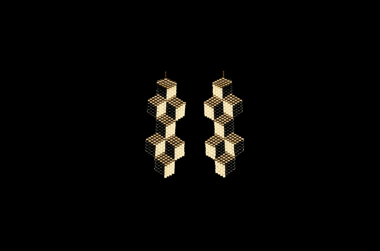 Tumbling Blocks, Medium, Nickel, Beaded Earrings