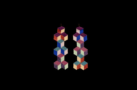 Tumbling Blocks, Mosaic, Beaded Earrings