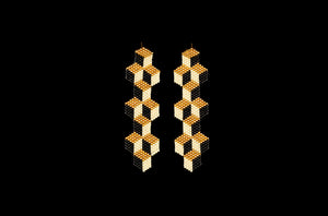 Tumbling Blocks, Large, Gold, Beaded Earrings