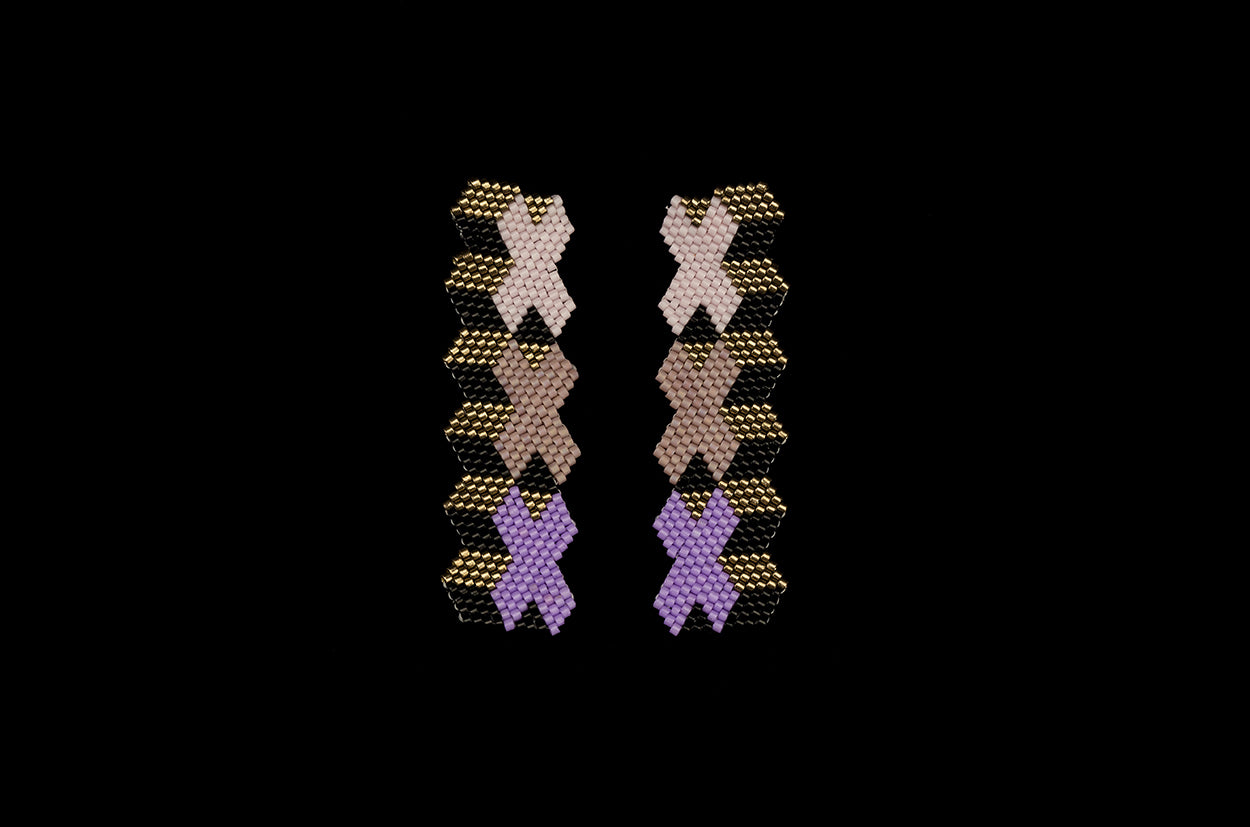 XXX Swatch, Lilac, Beaded Earrings