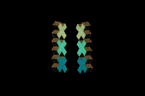 XXX Swatch, Teal, Beaded Earrings