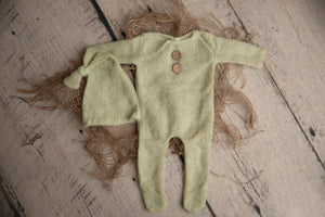 Sage Fuzzy Newborn Sleeper and Hat Set