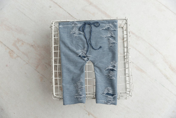 Tattered Sitter Pants - Blue