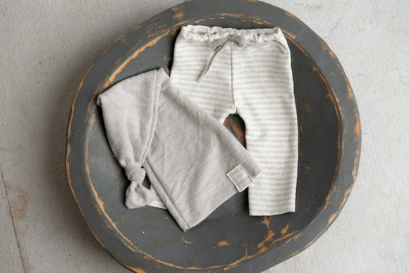 Gray and White Striped Newborn Pants and Sleepy Hat Set