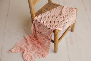 Peachy Pink Crochet Knit Wrap