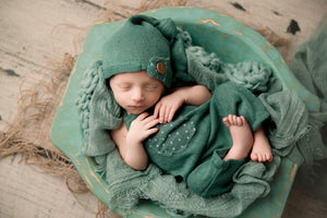 Teal Newborn Romper and Sleepy Hat Set