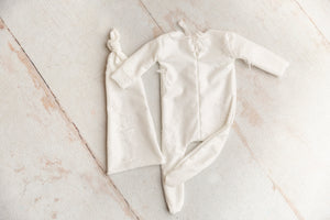 White Distressed Newborn Footed Jammies and Sleep Hat Set