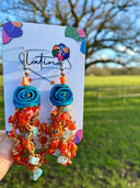 Blue and Orange Murrine Earrings