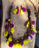 Yellow & Violet Chunky Necklace, Yellow Necklace, Violet Necklace, gift for her