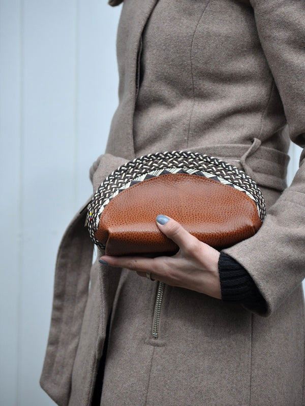 Brown Leather Cane Leaves Clutch Bag