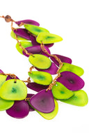 Green, Violet, White Chunky Necklace, Statement Necklace, Tagua Necklace, Long Necklace