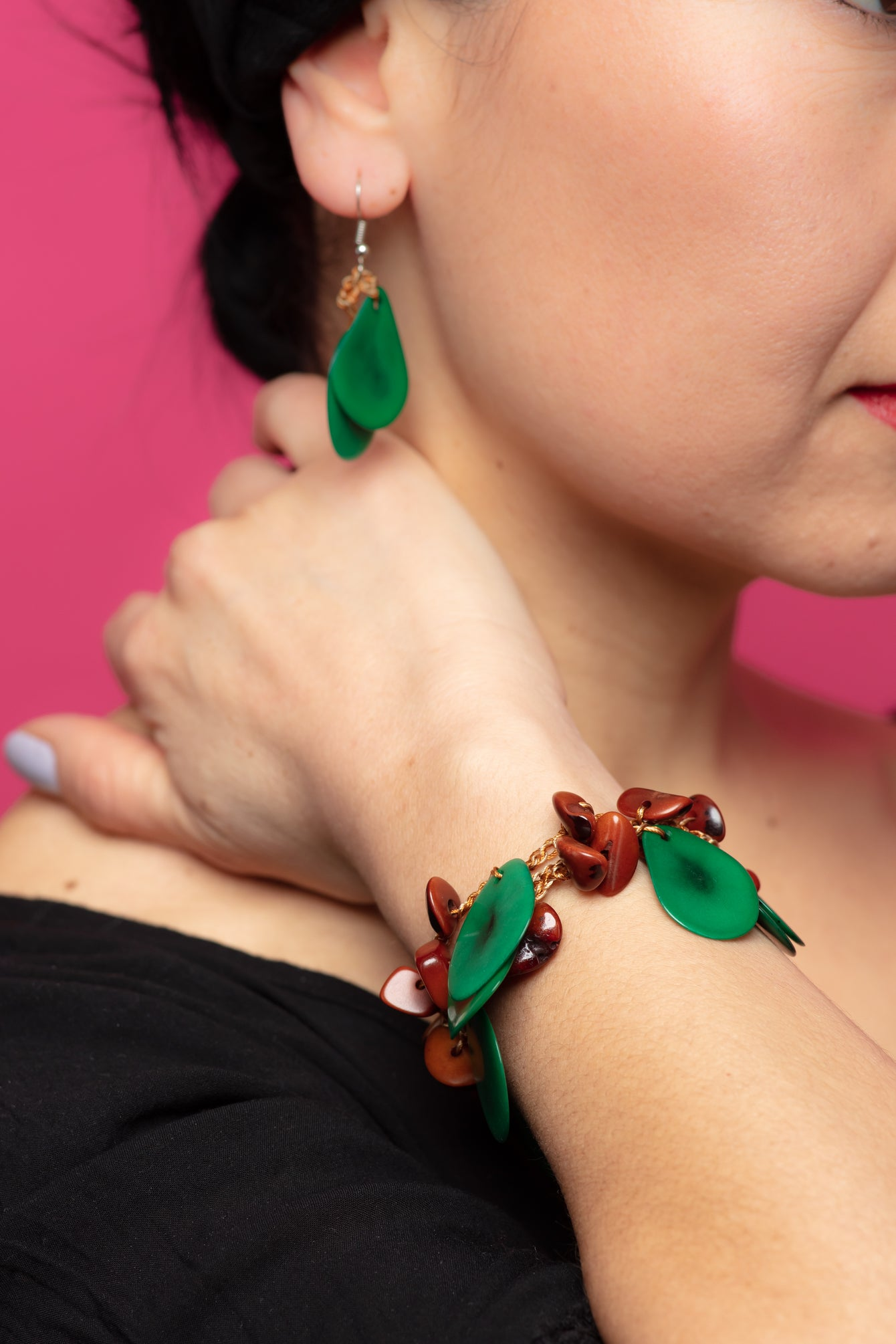 Green/brown tagua bracelet, greeen chunky bracelet