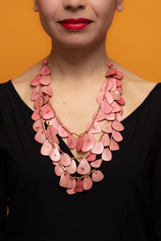 Pink chunky long necklace