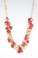 Pink/white orange peel necklace, pink roses necklace