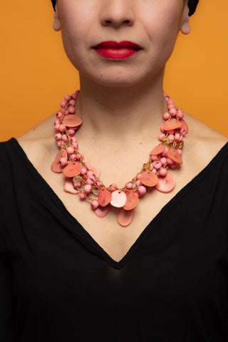 Pink Chunky Necklace, Lilac and Aqua
