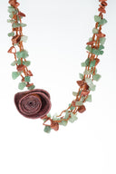 Green jade semi precious gemstone and red goldstone necklace, Orange Peel Rose necklace