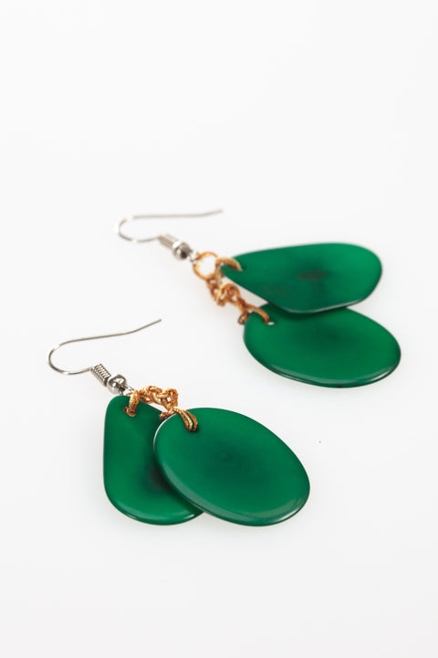 Green chunky double  earrings, green tagua earrings