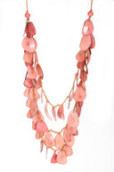 Pink chunky long necklace, Pink statement necklace, Pink tagua necklace