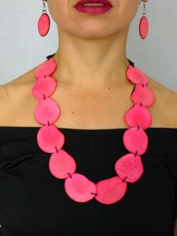 Lunas Tagua Necklace - Pink