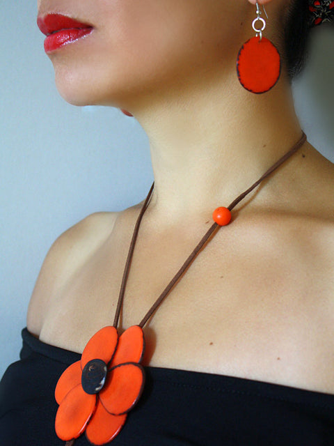 Margarita Tagua Necklace - Orange
